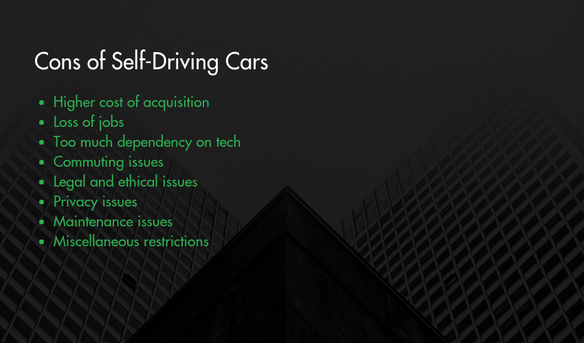 Cons of Self-Driving Cars