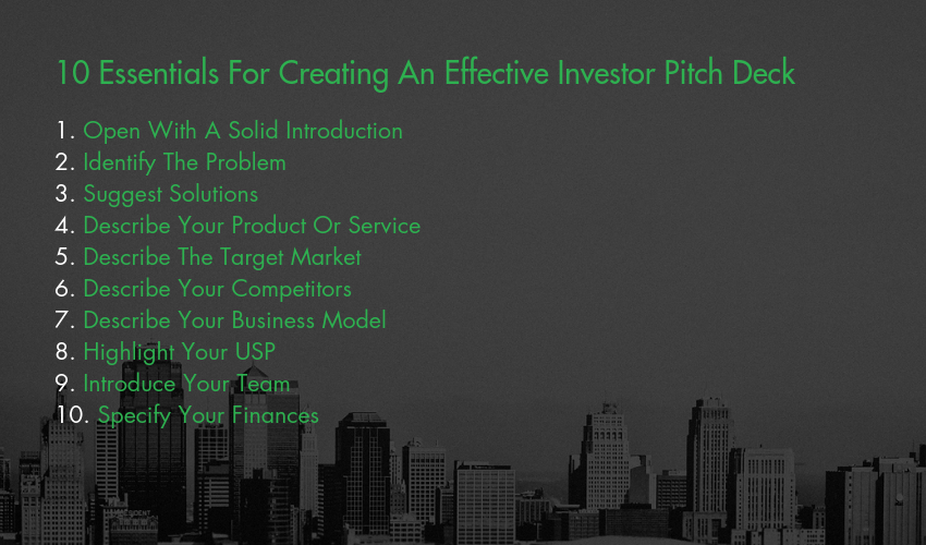 10 Essentials For Creating An Effective Investor Pitch Deck